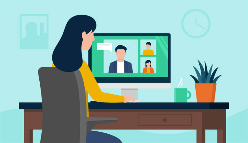 A stylised graphic a professional on a video conference using LoopUp, showing 10 common remote meeting myths debunked.